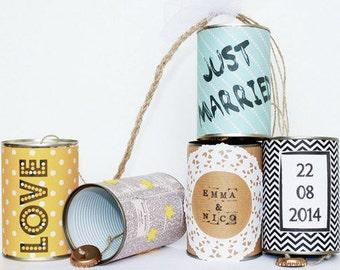 Hochzeitsdosen Wedding Cans – vintage Autoschmuck aus Dosen zur Hochzeit individuell gestaltet