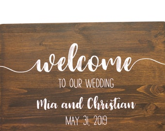Welcome Wood Sign personalized