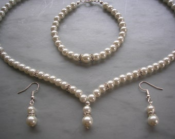 50572403787c9 Ivory & Any Color Pearls Jewelry Set Pearl Crystal Diamantes   Etsy