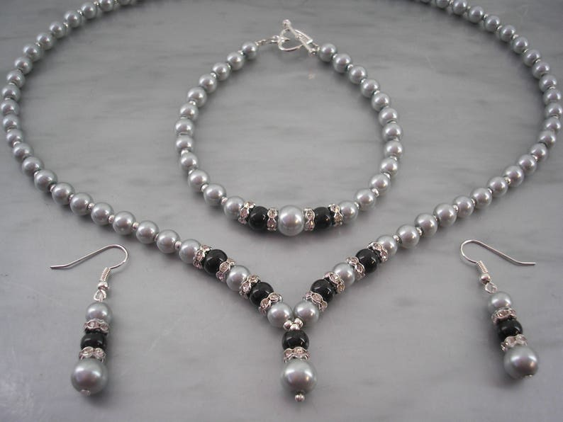 cb4ffe545 Silver Grey & Black Pearl Jewelry set for women Pearl and | Etsy