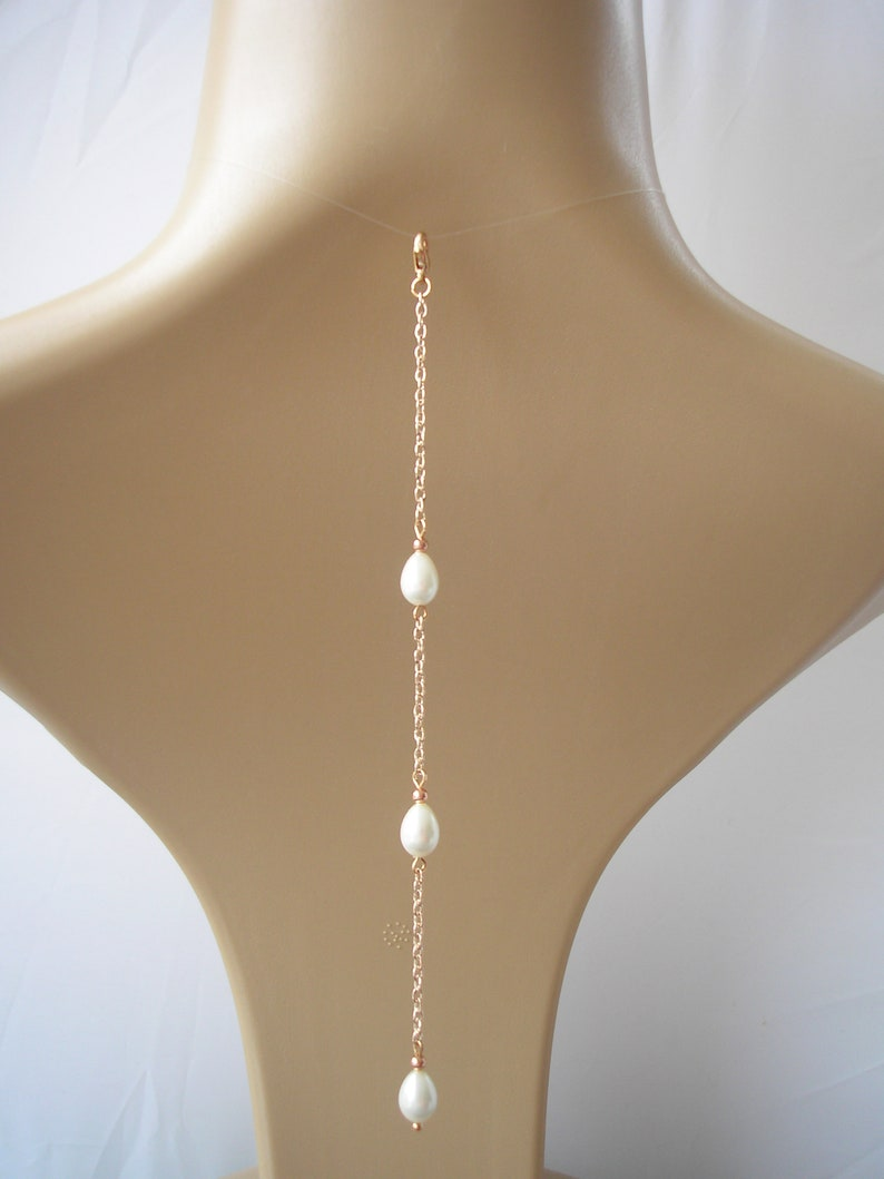 e179d26eb9a6c Teardrop Pearl Backdrop attachment for a necklace, backdrop add-on, Rose  Gold Back Drop Chain pearl bridal jewelry, back jewellery