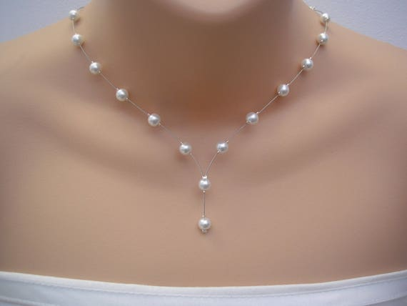 Pearl Drop Bridal Necklace Pearl Bridesmaids Jewelry Pearl Etsy