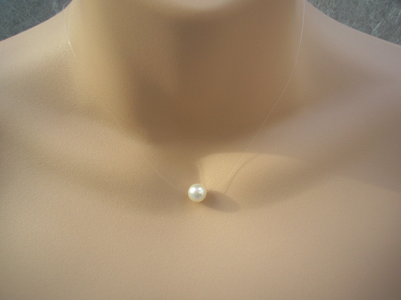 dee842fc6c1d0 White Swarovski Pearl Necklace, Floating Pearl Necklace, Illusion Necklace,  Simple White Pearl Necklace, Pearl Illusion Necklace for women