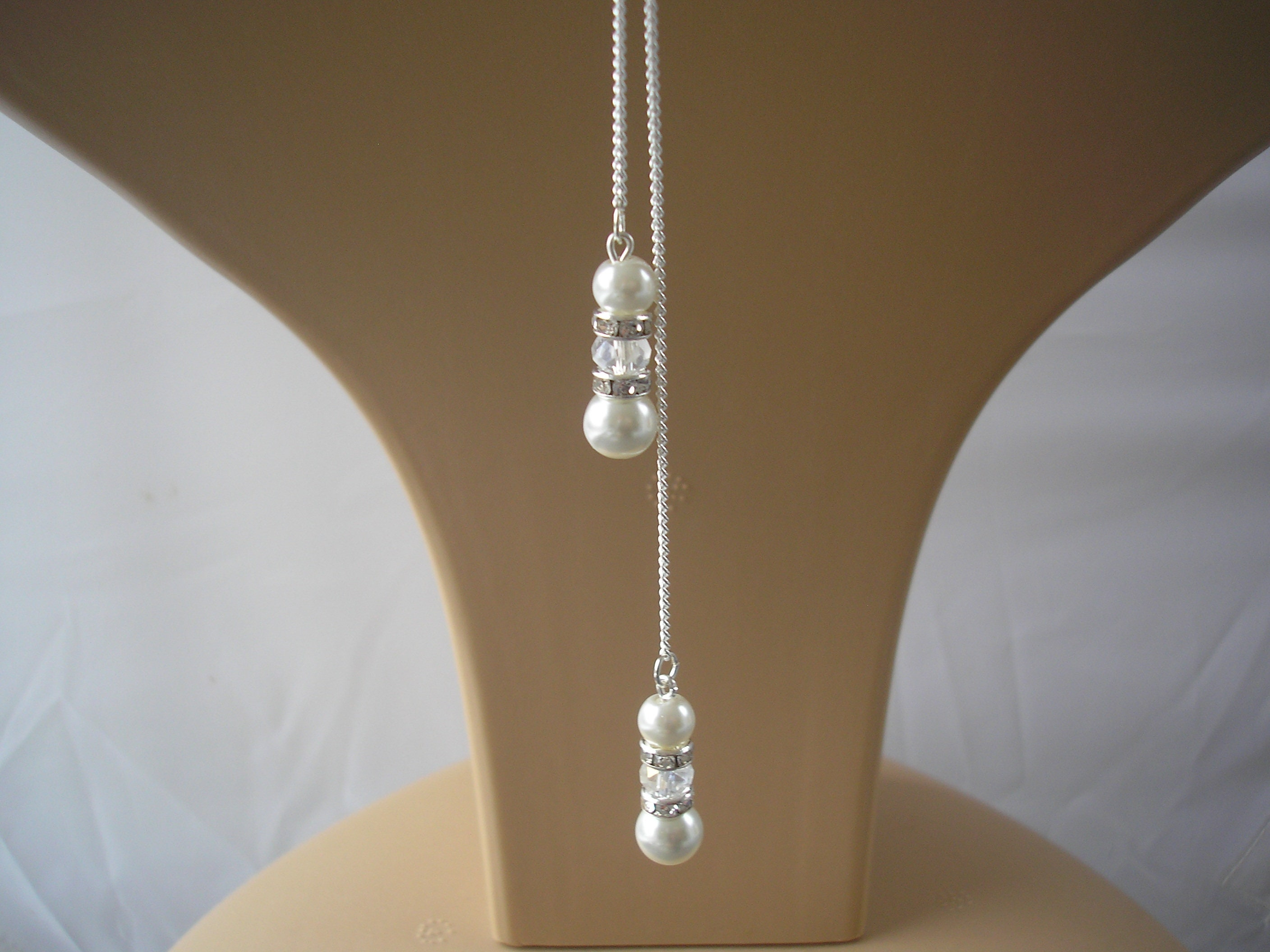 Pearl Necklace Attachment Handmade Pearl Crystal Diamante Etsy