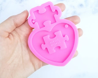 Autism Puzzle Heart Straw Topper Resin Silicone Mold for Epoxy Resin Crafts