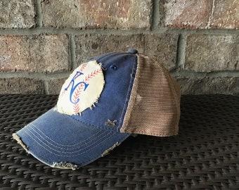 buy online d4a29 461fa Kansas City Royals Hat, KC Hat, Women s Baseball Cap, Distressed Hat,  Vintage Baseball Cap, Weathered Hat, Women s Baseball Hat, BohoGroove