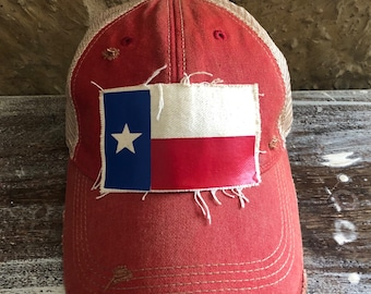 Mens and Womens Wood Texas Flag Flat Baseball Hat Vintage Trucker Hat for Unisex