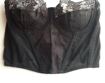 4196db0424f2f9 Vintage Black lace Bustier boned and underwired size 38 B