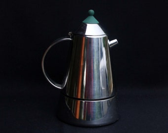 Retro Guido Bergna Italian Designer Stainless Steel Stovetop Espresso Coffeemaker | Four Cups | 7.5 inches | Sourced in Italy