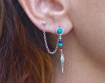 Handmade turquoise ear chain - double piercing earring - Sterling silver - cartilage chain Earrings - indian earring - Two Hole Earrings