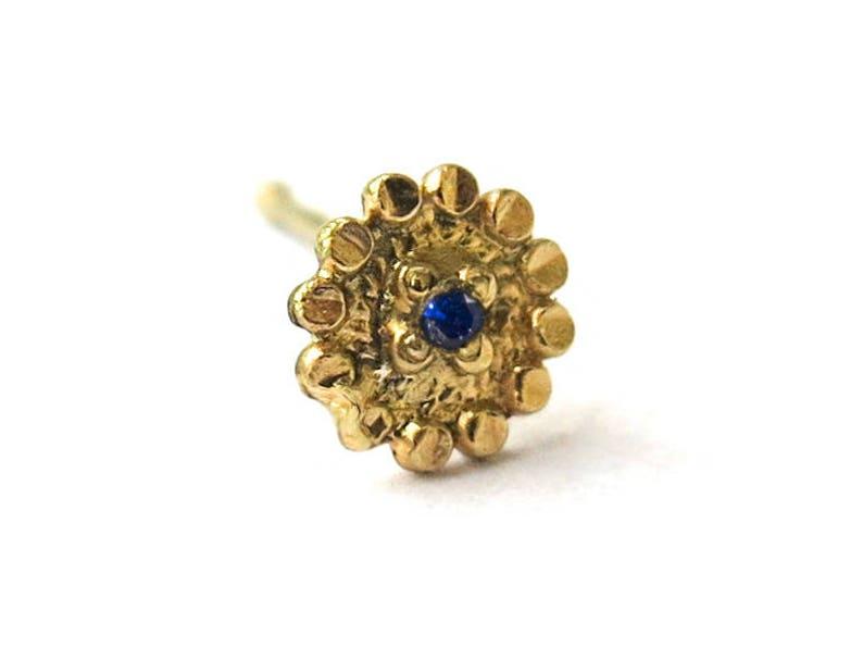 indian nose ring 14k yellow gold 0.6 mm Sapphire Nose stud 22 gauge sunflower Handmade choose your stud shape