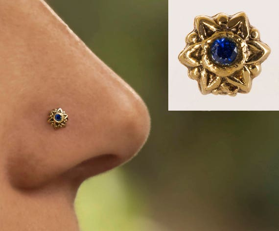 20G 14K Solid Gold  with Yellow  Sapphire Stone Nose Screw Stud Piercing Jewelry