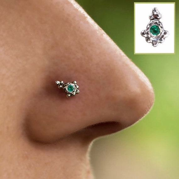 Indian Nose Stud Genuine Emerald Sterling Silver 925 Gypsy Etsy