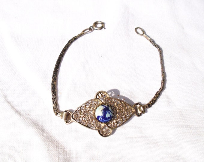 Silver Bracelet, Blue Delft Bracelet, Filigree Bracelet, Silver Blue Delft, Dutch Windmill Bracelet