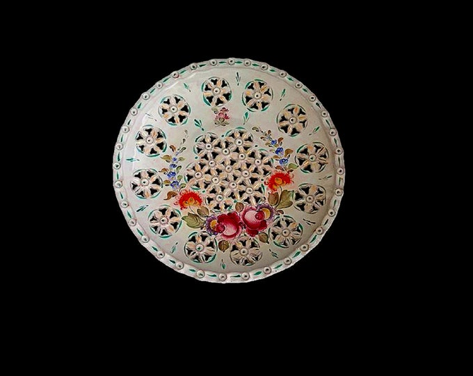 Reticulated Plate, Flower Plate, Decoration Plate, Handpainted Wall Plate, Rare Decorative Plate