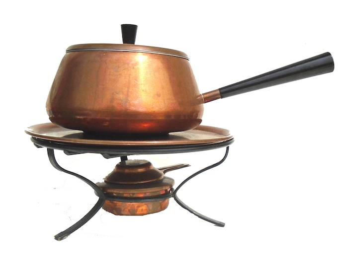 Copper Pot and Tray, Swiss Copper, Stockli Netstal Copper Fondue Pot And Tray, Chafing Dish, Swiss Copper Fondue Pot, Warmer And Tray.