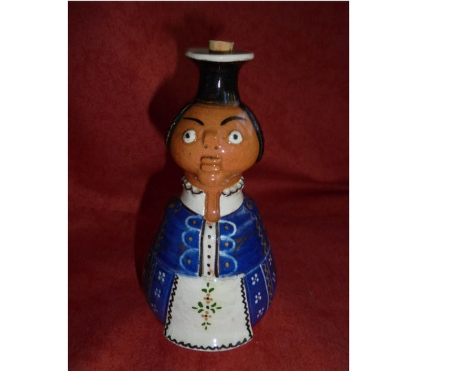 Ceramic Flask, Antique Flask, Hungarian Pottery, Folk Ceramic, Statue Flask