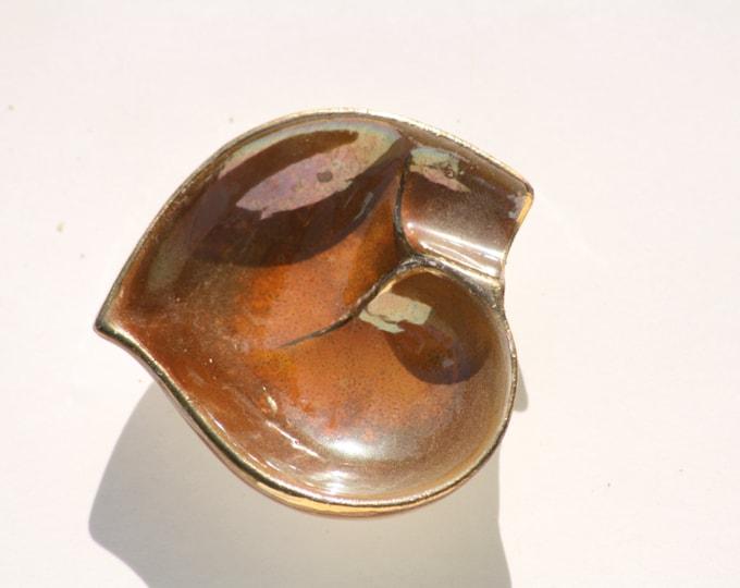 Heart Ashtray, Porcelain Ashtray, Brown Ashtray, Small Ashtray, Ashtray