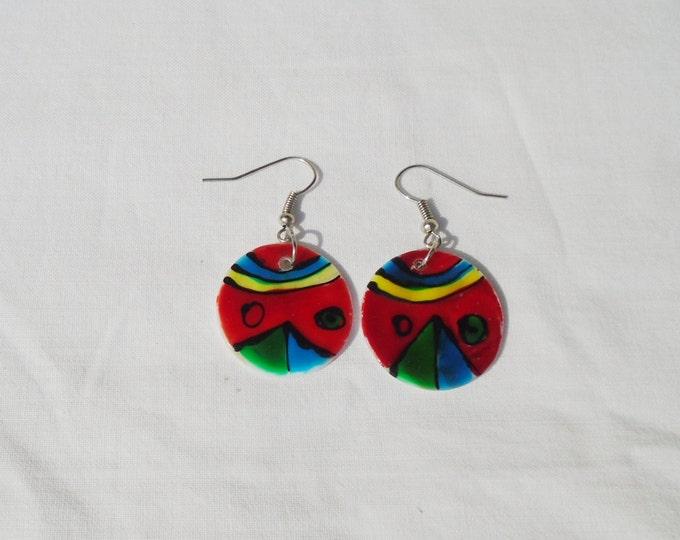 Shell Earring, Hippie Earring, Handpainted Shell, Shell Jewelry