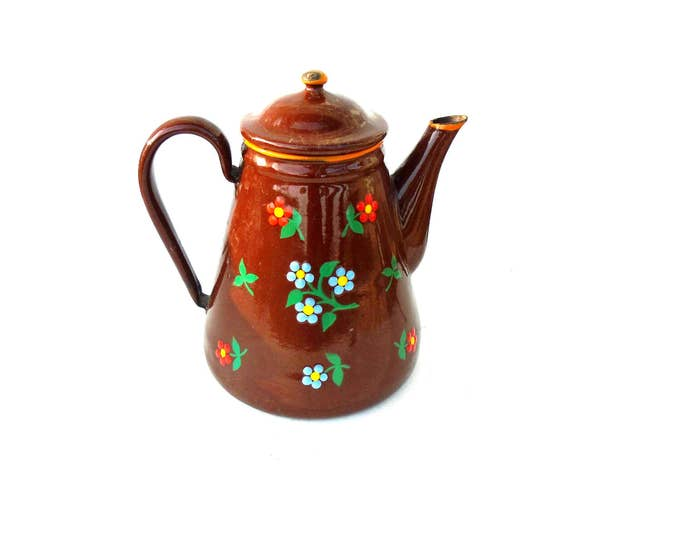 Brown TeapotTin Tea Can, Flower Teapot, Handcrafted Teapot, Folk Teapot