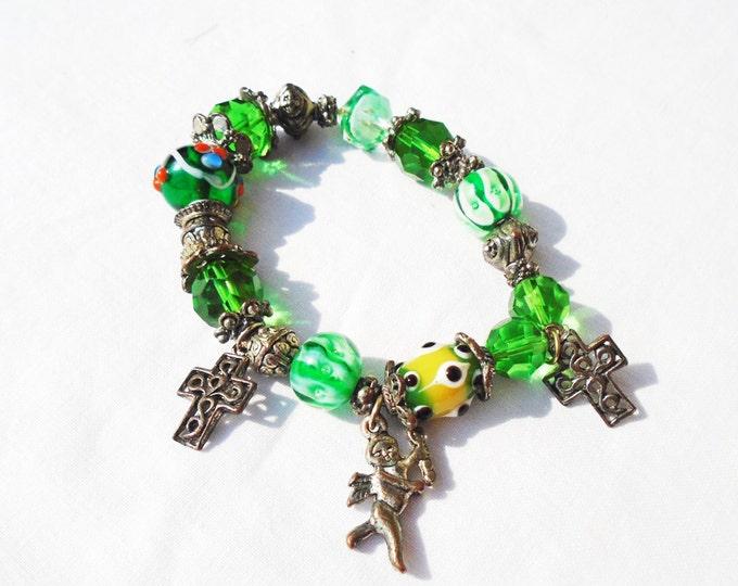 Green Bracelet, Angel Bracelet, Christmas Bracelet, Green Glass Bracelet, Cross and Angel Bracelet, Creed Bracelet, Green Glass