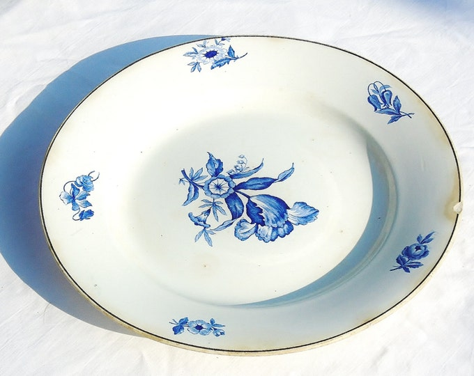 German Porcelain, Antique Plate, Ludwig Wessel Porcelain Plate, Blue Flower Porcelain Plate, 100 Years Old Porcelain, From 1875 Porcelain