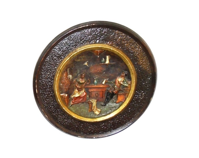 Terracotta Plate, Wall Plate, Tavern Scene Plate, Wall Hanging