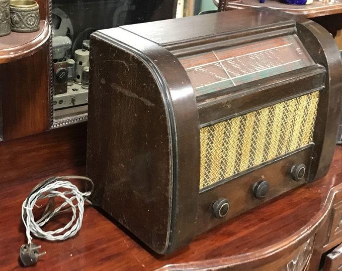 Antique radio in wood box, 1950's