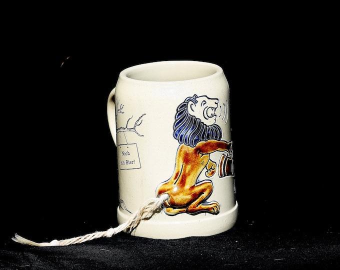 Gerzit Beer Stein, Lion Stein, Stoneware Mug, German Austrian Jug, Decorative Antique Jar Vintage Original Beer Stein Tankard 0.5 L
