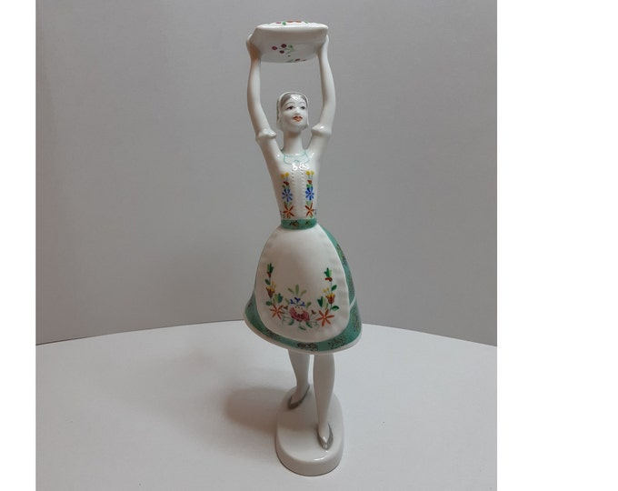 Folk Figurine, Porcelain Woman, Hungary Porcelain, Hollohaza Porcelain