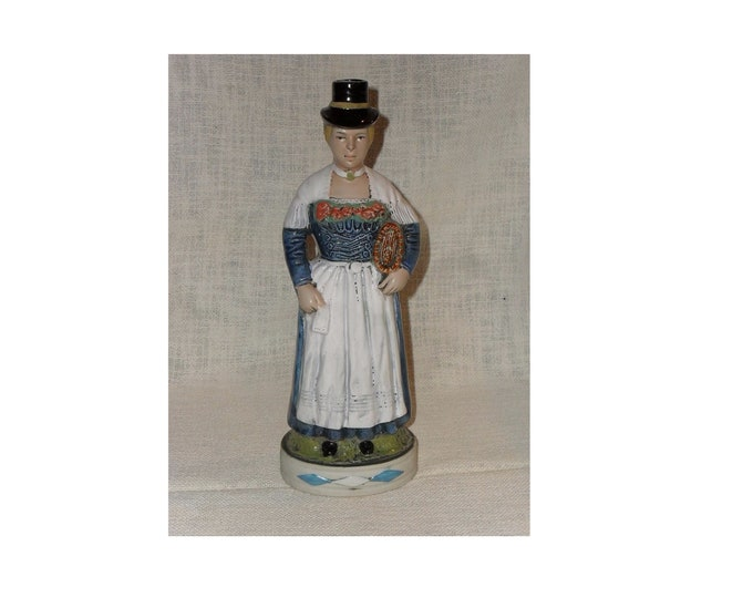 Figurine Flask, Ceramic Flask, Antique Flask, Folk Ceramic, Statue Flask