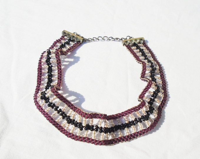 Pearl Necklace, Beaded Necklace, Beaded Pearl Necklace