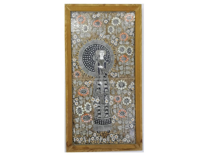 Ceramic Tile, Job Tile, Wall Hanging Tile, Tile with Woman, Artist Tile