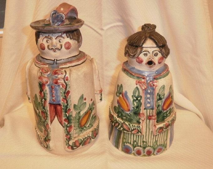 Ceramic Flask, Antique Flask, Hungarian Pottery, Folk Ceramic