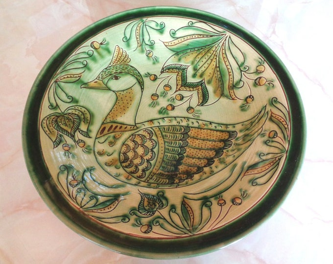 Wall Plate, Folk Bird Plate,Duckm Scene Plate,  Colored Plate, Wall Hanging Plate
