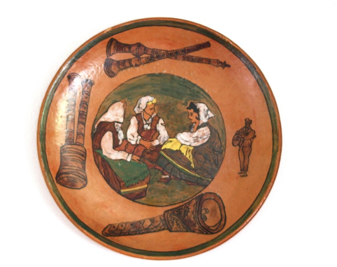 Wall Plate, Ceramic Wall Plate, Italian Plate, Italian Wall Plate, Italian Ceramic, Italian Pottery, Instrument Scene Plate