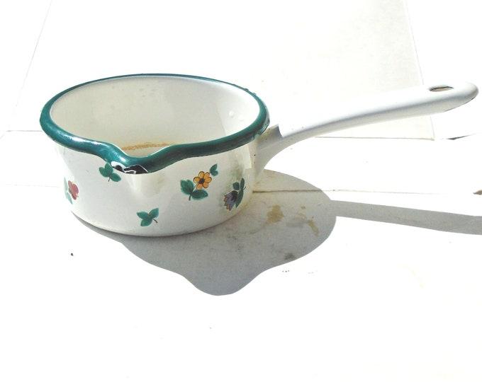 Tin Pot, Pot with Handle, Vintage Pot, Flower Pot