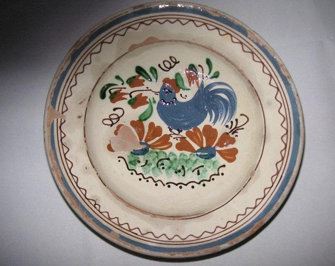 Clay Plate, Transylvania Pottery, Folk, Antique Peasant Plate