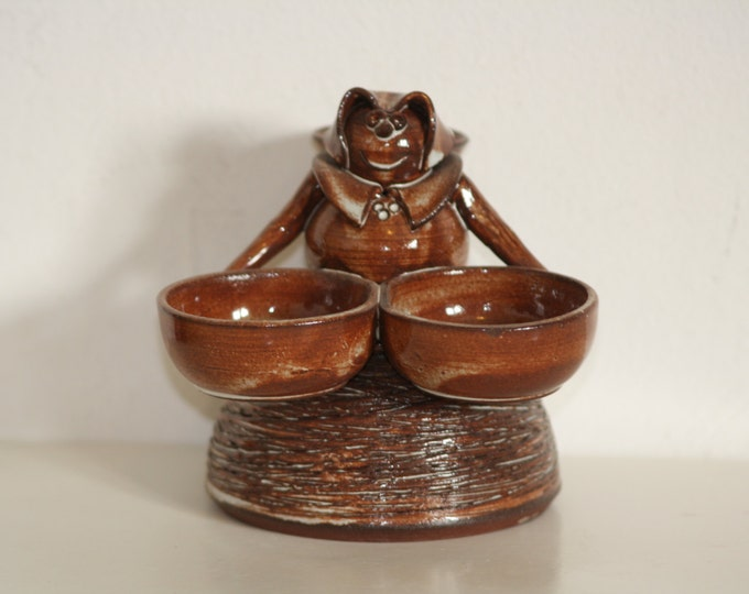 Czech Ceramic, Woman with Water Bowl, Brown Ceramic, Kucera Ceramic, Woman Sculpture, Woman Statue, Brown Sculpture