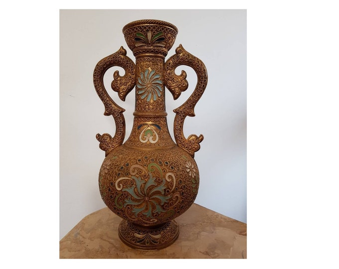 Wilhelm Schiller & Son, Majolica Vase, Golden Decorated Vase, Antique Vase, Persian vase