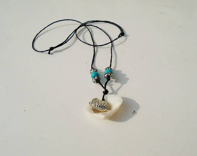 Shell Necklace, Shell Necklace with Pewter Turtle, Sea Turtle Necklace, Turtle Necklace, Turtle Jewelry, Turtle in Shell