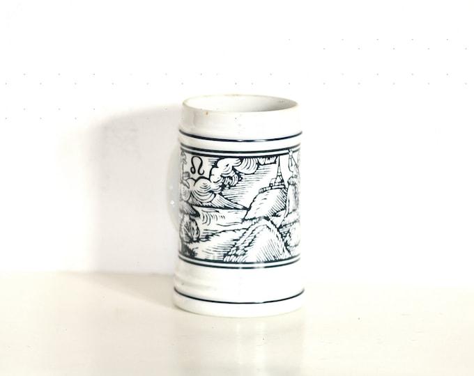 Small Mug, Scene Mug, Hollohaza Mug, Small Stein, Leo Zodiac Mug, Blue Mug