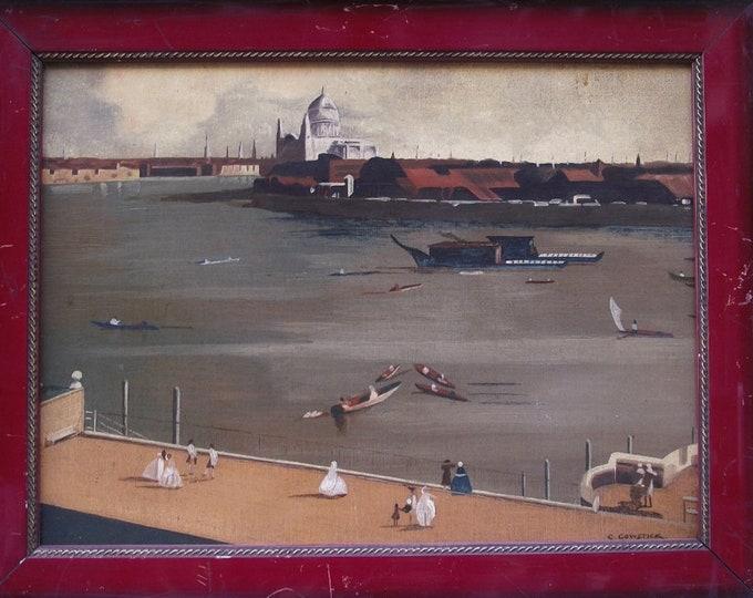 Antique Painting, Oil Paint, Paint on Canvas, Landscape from Port
