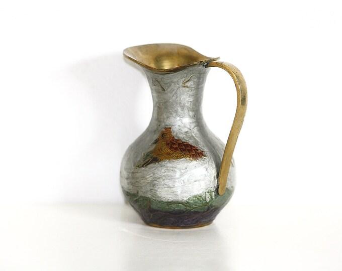 Brass Pitcher, Brass Vase, Massiv Messing Pitcher, Golden Bird, Bird Pattern Pitcher, Bird Motif Vase, Collectible Brass, Copper Vase