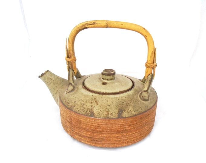 Vintage Teapot, Bamboo Handle Teapot, Earthenware Teapot, Stoneware Teapot, Japanese Teapot, Chinese Teapot