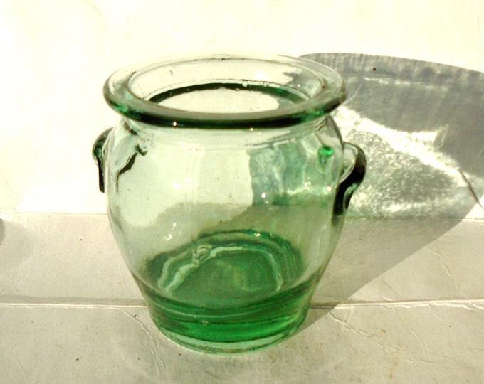 Glass Jar, Green Glass, Thick Glass