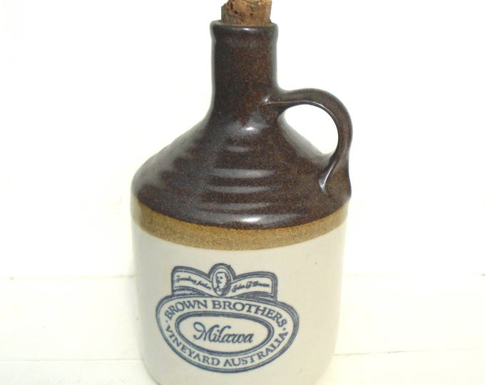 Snuff Bottle, Water Bottle, Australian Milawa Bottle, Folk Water Bottle, Stoneware Bottle, Brown Brothers Bottle