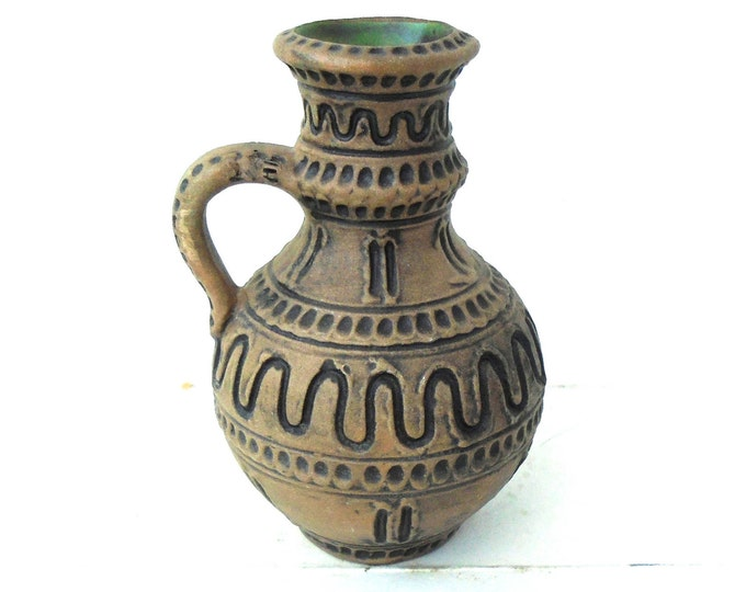 Brown Pitcher, Vinegar Bottle, Hand Carved Jug, Clay Jug, Turkish Style Pitcher, Small Pitcher