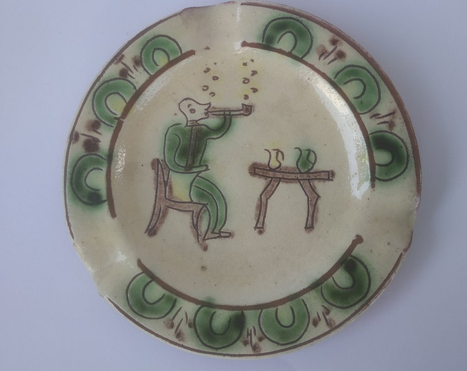 Ceramic Plate, Hutsul Plate, Hucul Ashtray, Folk Plate, Folk Ceramic Plate, Clay Plate, Handpainted Plate