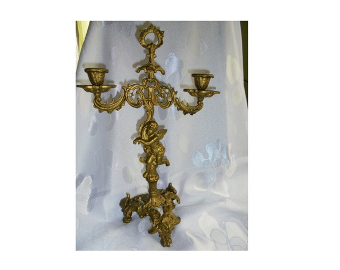 Brass Candelabra, Huge Candelabra, Brass Putti, Candelabra with Putti